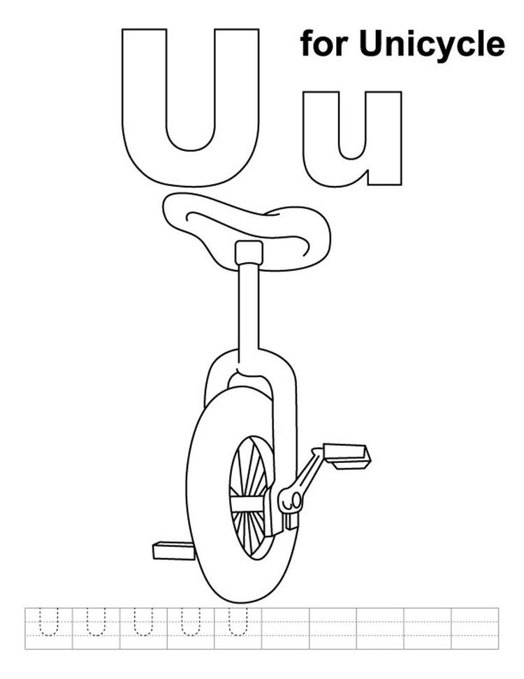 Unicycle Alphabet Coloring Pages Free