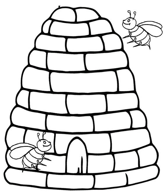 Unique Beehive Coloring Page