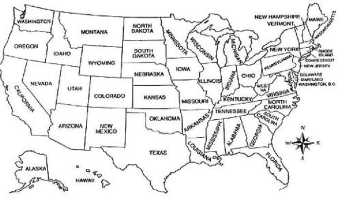 Usa Map Coloring Pages