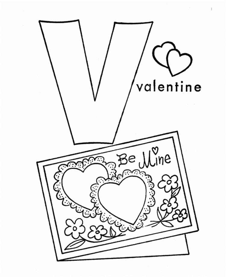 V For Valentine Coloring Pages