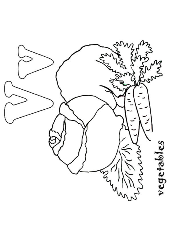 V Is For Vegetable Coloring Pages
