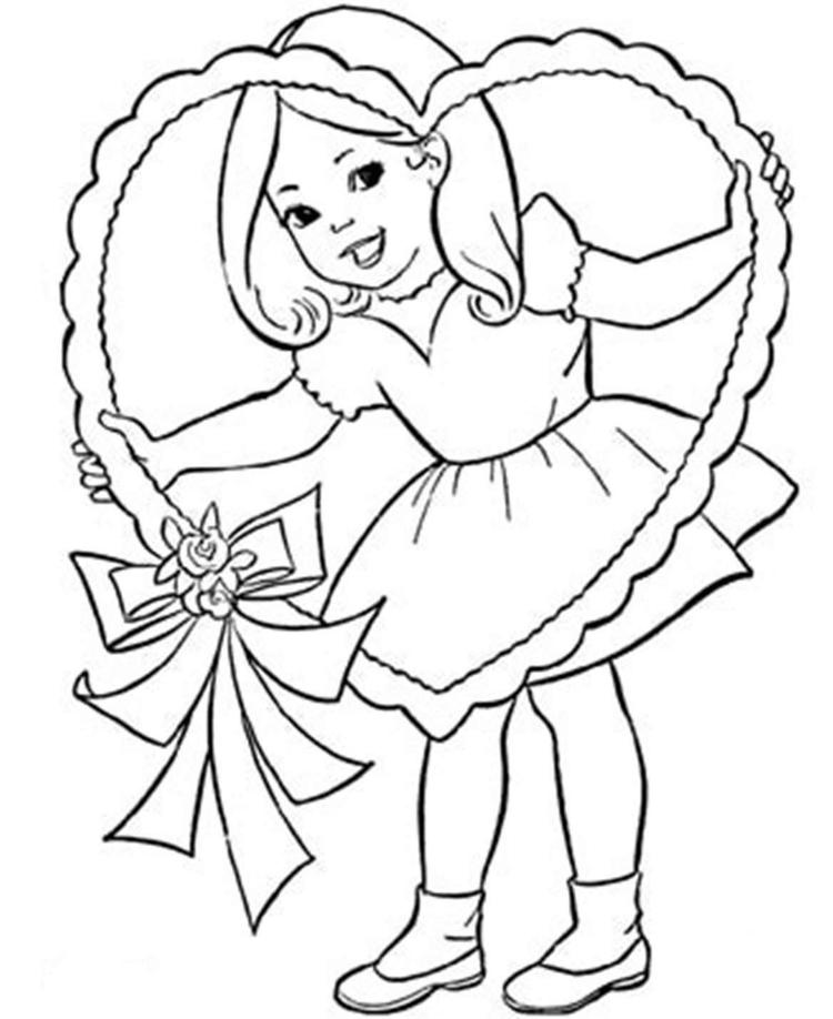 Valentine Coloring Pages Little Girl