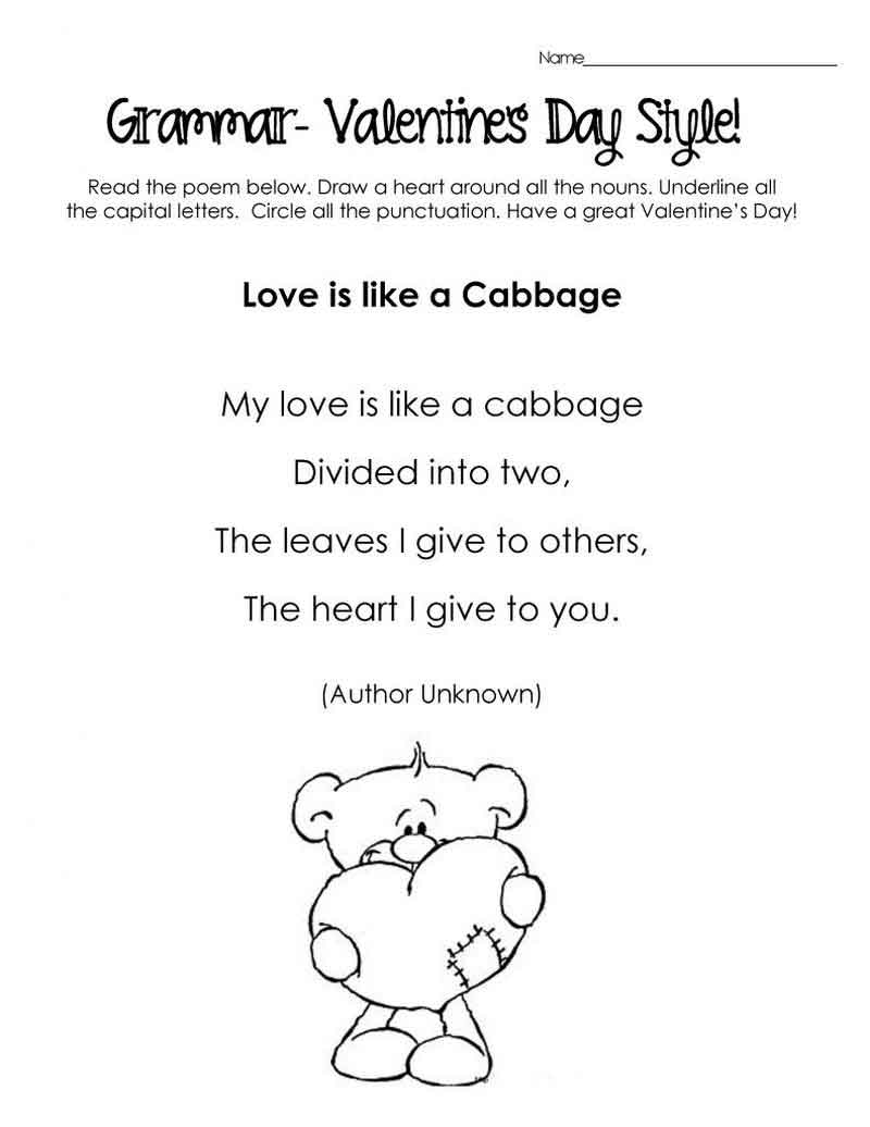 Valentines Day Grammar Worksheet