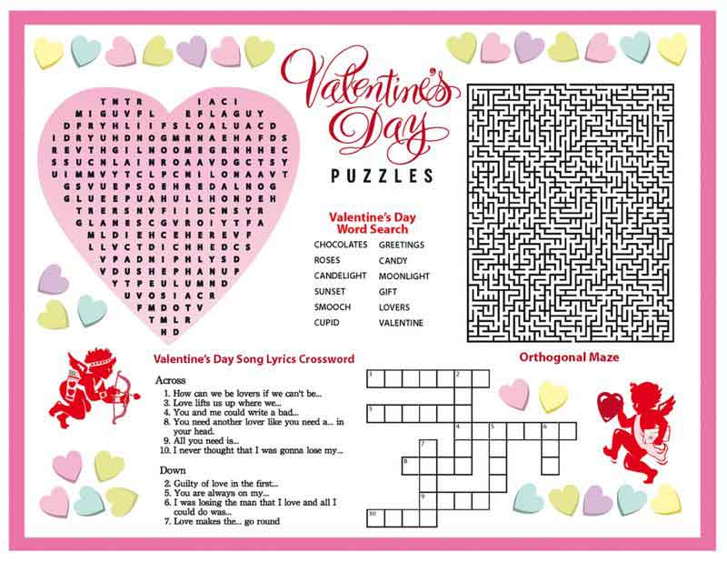 Valentines Day Puzzles Worksheet