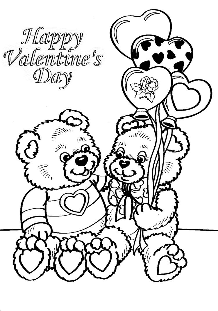Valentines Day Coloring Printable Page With Bear Doll Gift Card