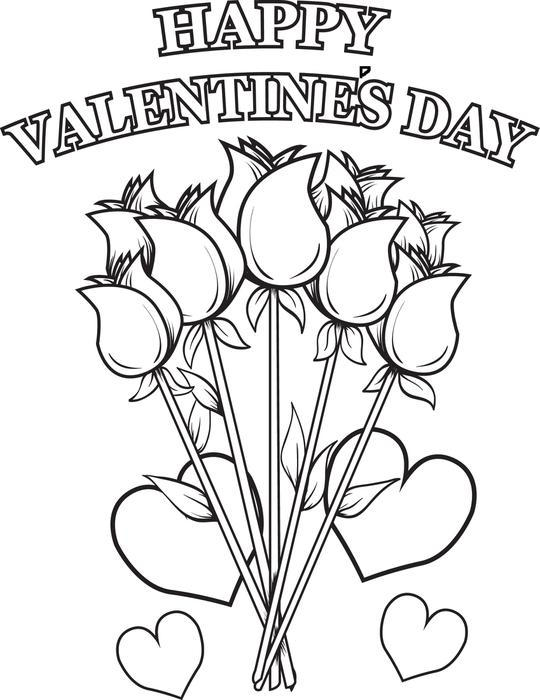 Valentines Day Roses Coloring Pages