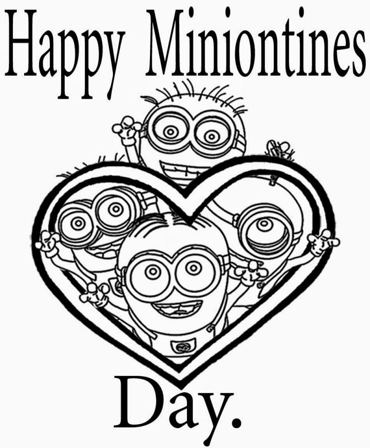 Valentines Minion Coloring Pages