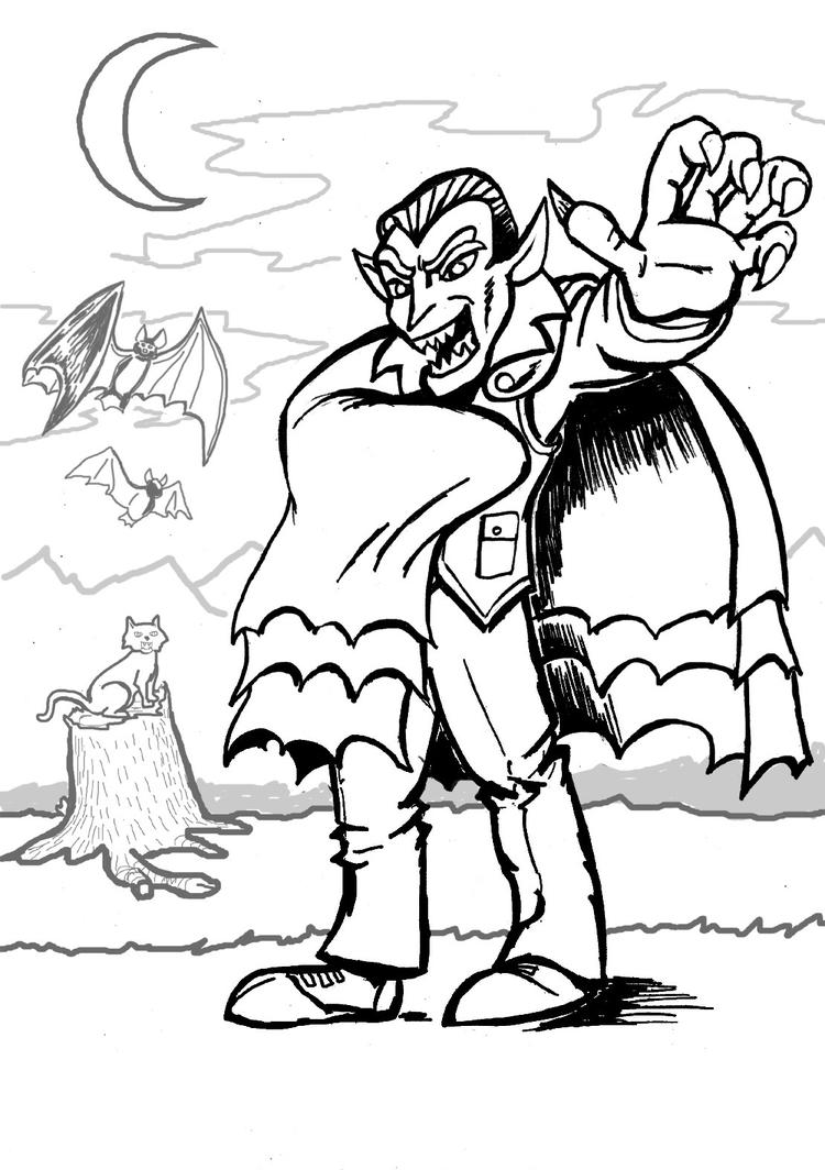 Vampire Coloring Pages At Night