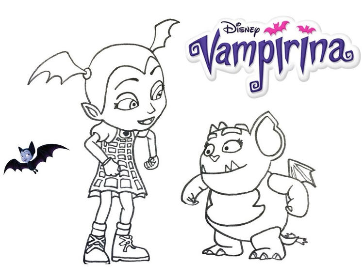 Vampirina And Gregoria Coloring Disney Junior Page