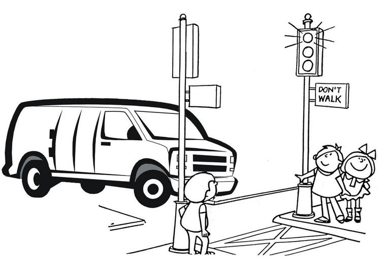 Van Car Stopping On The Traffic Light Coloring Page