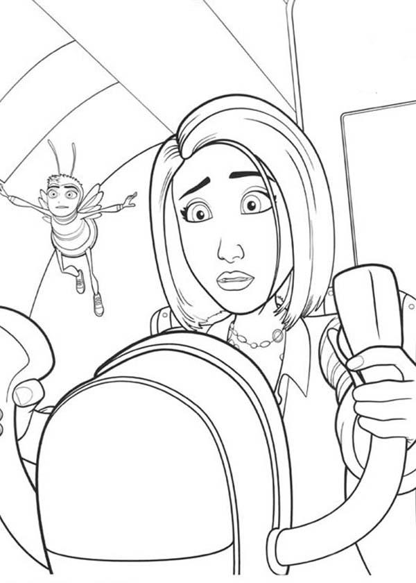 Vanessa Try To Drive An Airplane In Bee Movie Coloring Pages