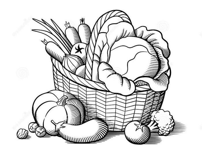 Vegetables Baskets Coloring Pages