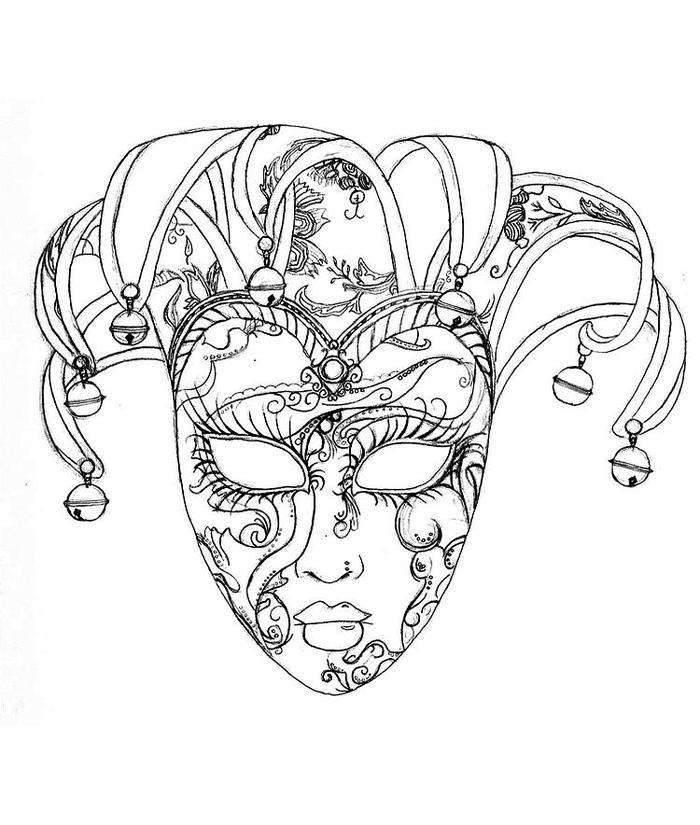 Venice Carnival Mask Coloring Pages