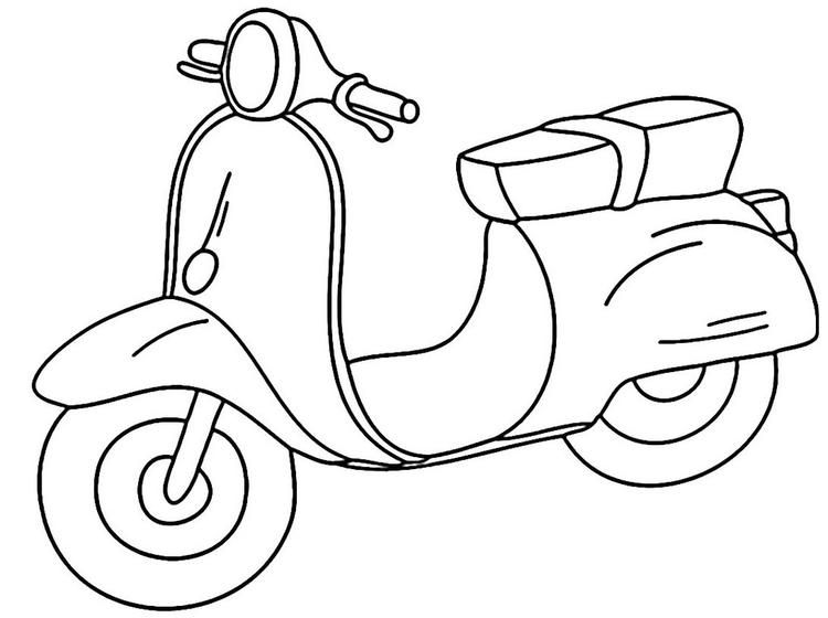 Vespa Cartoon Coloring Sheet For Kids