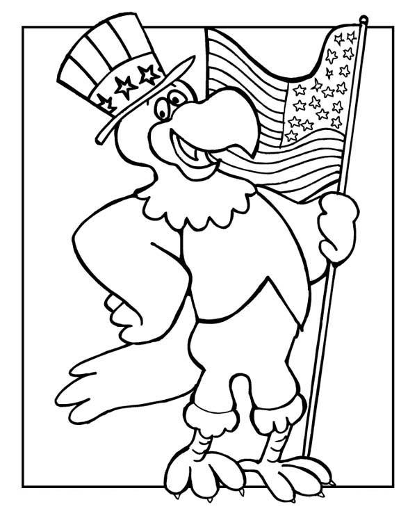 Veterans Day Coloring Pages Bald Eagle Holding Flag