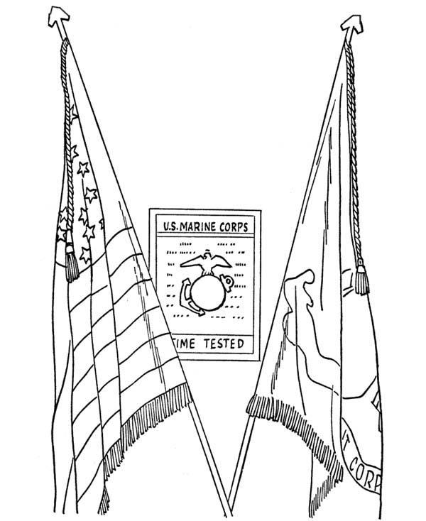 Veterans Day Coloring Pages Flags