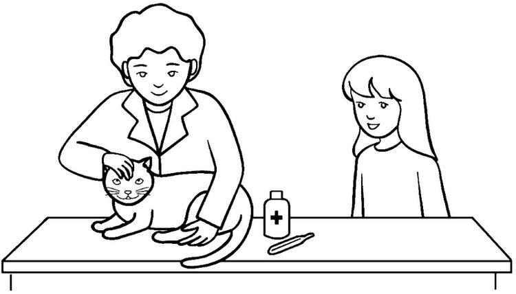 Veterinarian Checking Health Cat Coloring Page