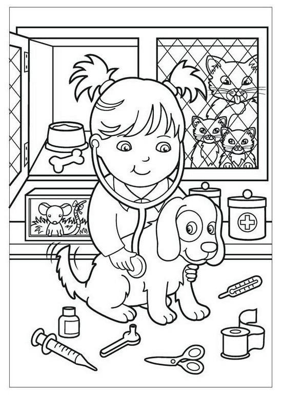 Veterinarian Girl Cartoon Coloring Pages