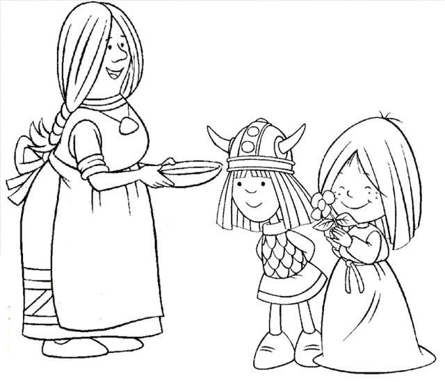 Vicky The Viking Cartoon Coloring Picture