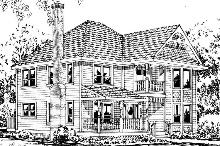 Victorian House Design Coloring Page Drawing