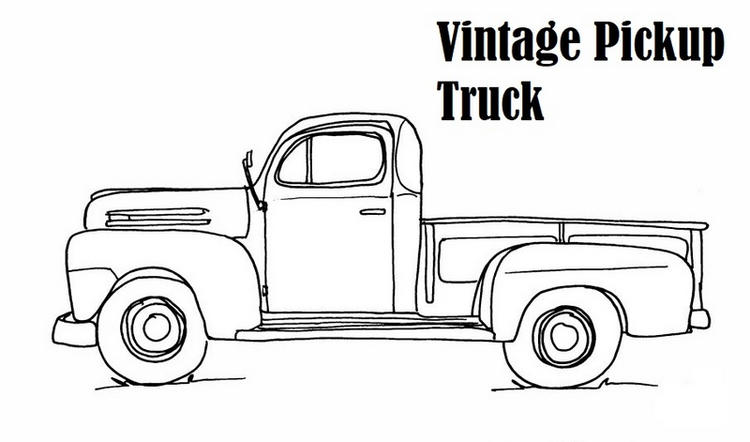 Vintage Pick Up Truck Coloring Page