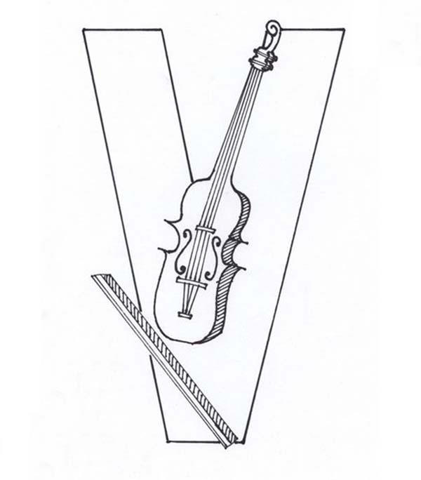 Violin Comes From Learning Letter V Coloring Page