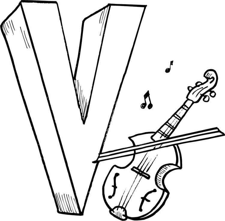 Violin Free Alphabet Coloring Pages