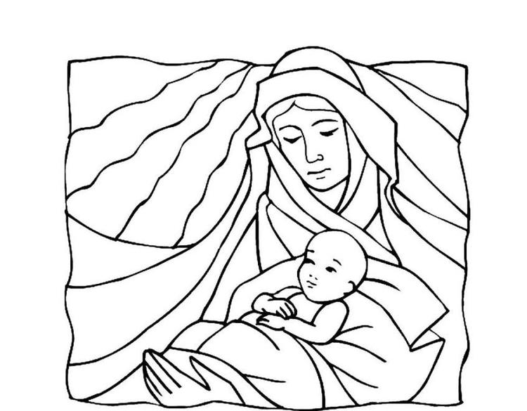 Virgin Mary And Baby Jesus Religious Christmas Coloring Page