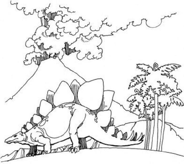Volcano And Dinosaur Coloring Pages