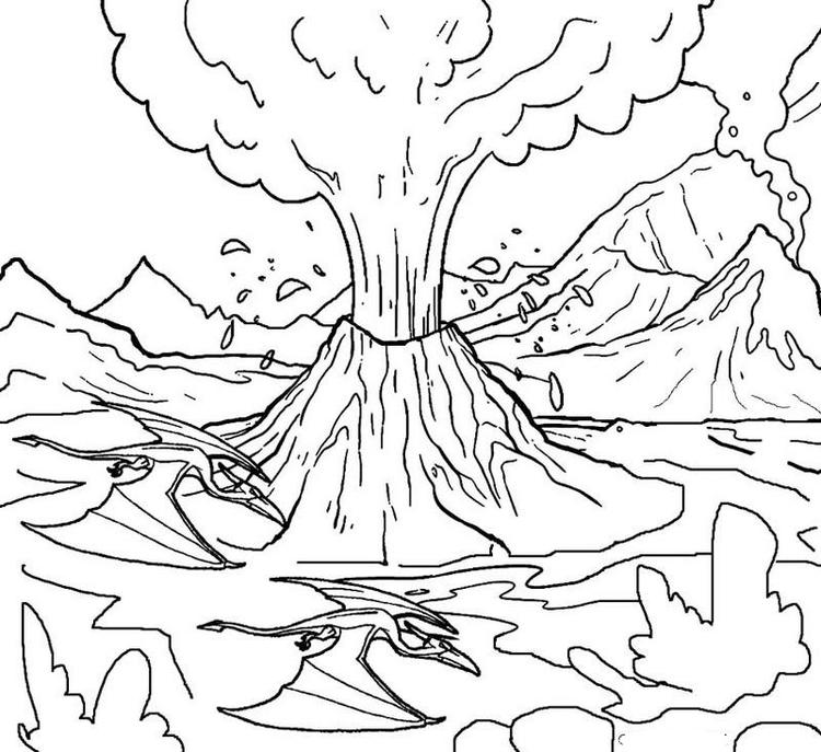 Volcano Erruption Coloring Page