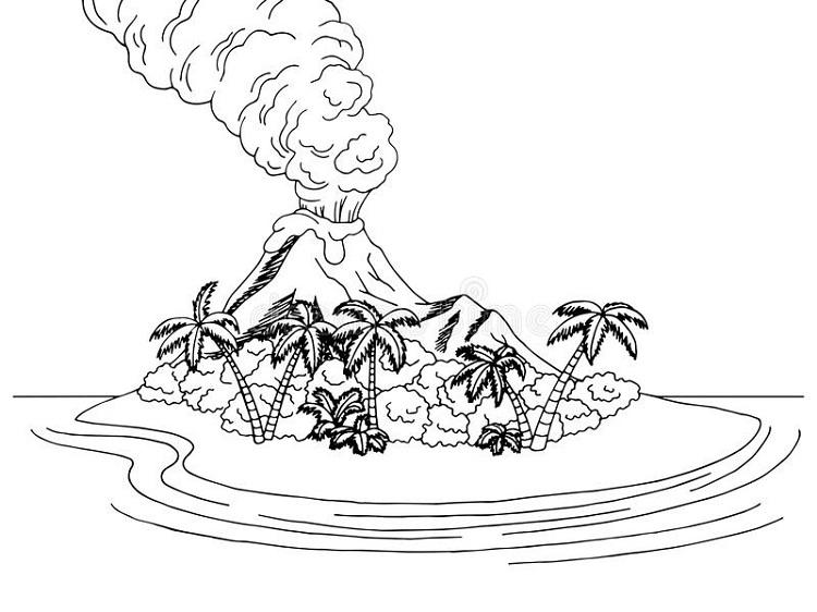 Volcano Islands Coloring Pages