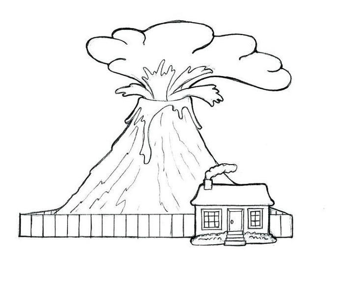 Volcano Printable Coloring Pages