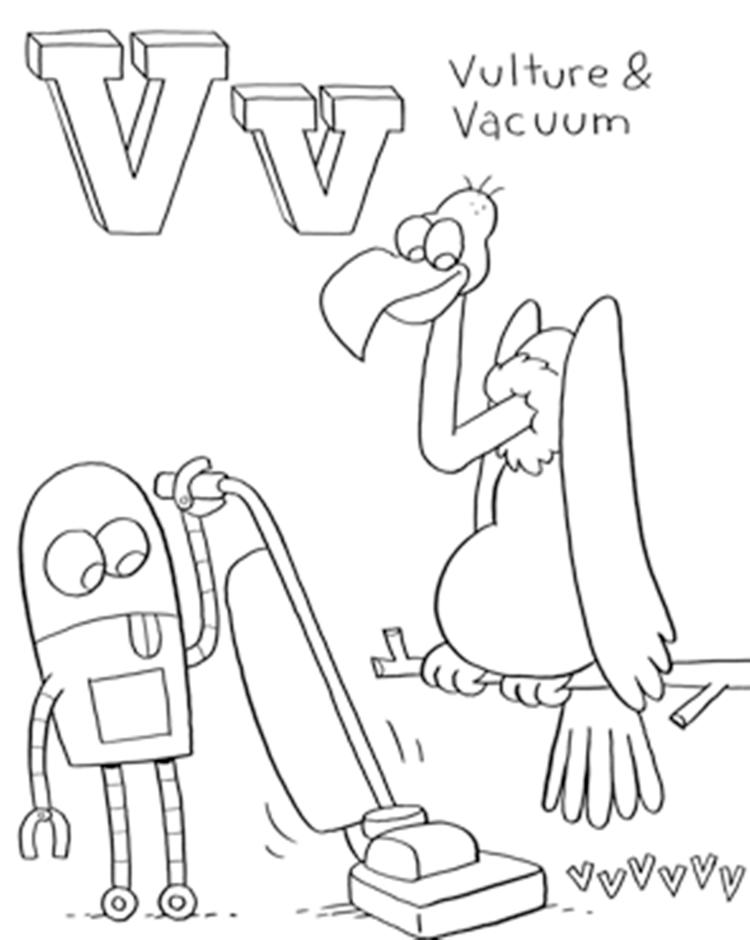 Vulture And Vacuum Alphabet Coloring Pages