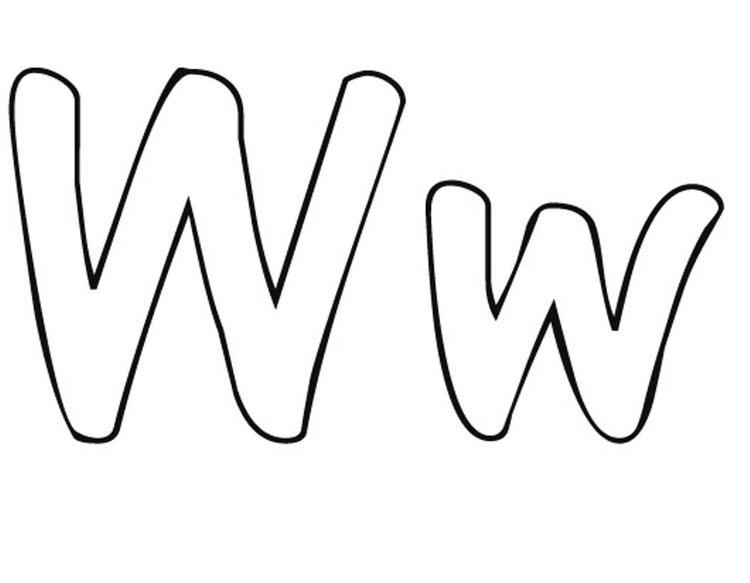 W Free Alphabet Coloring Pages