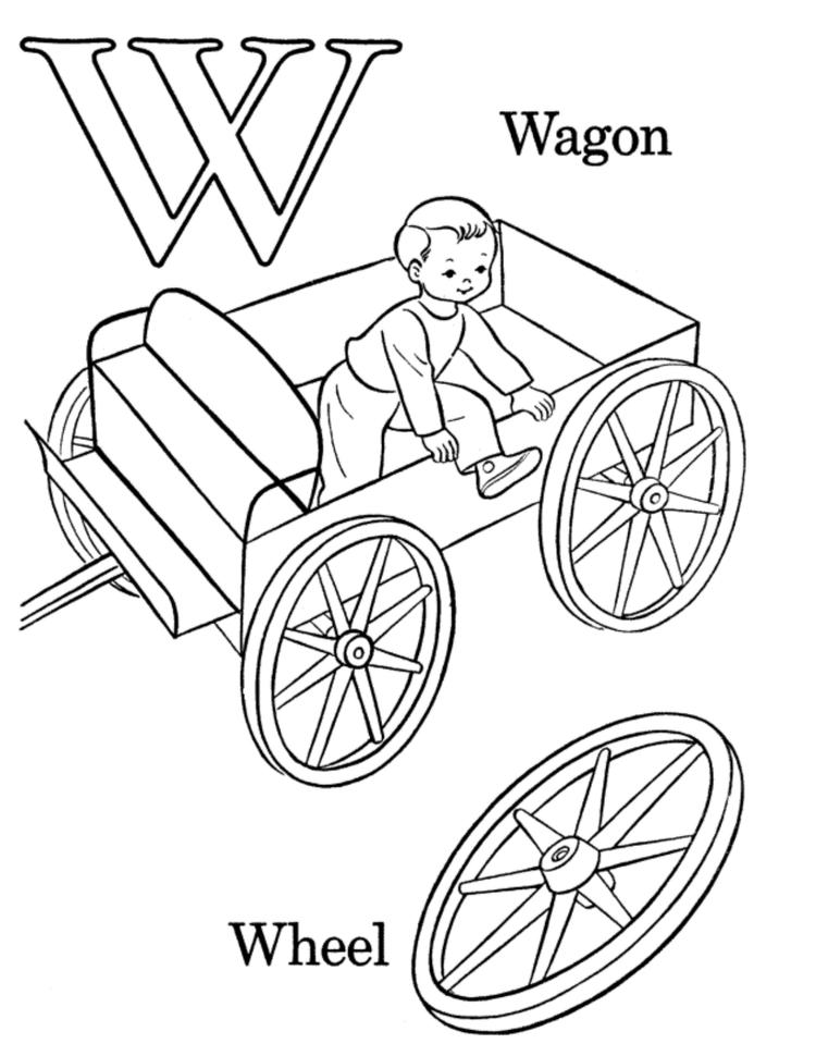 Wagon And Wheel Free Alphabet Coloring Pages
