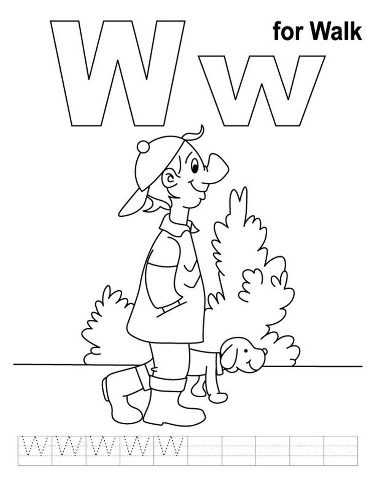 Walk Free Alphabet Coloring Pages