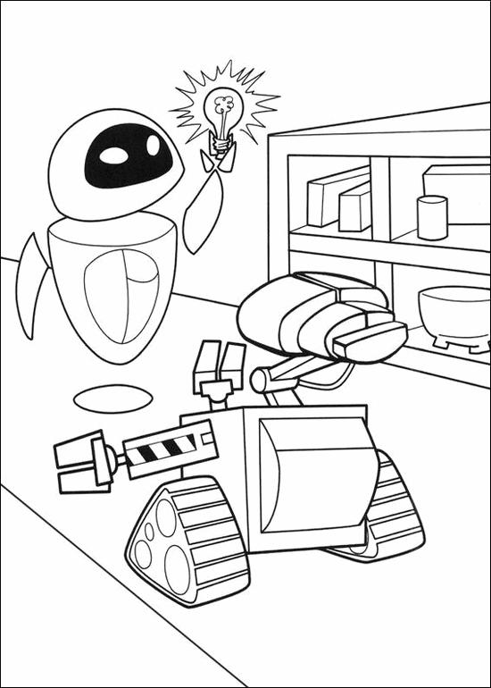 Wall E And Eve Coloring Page For Kids