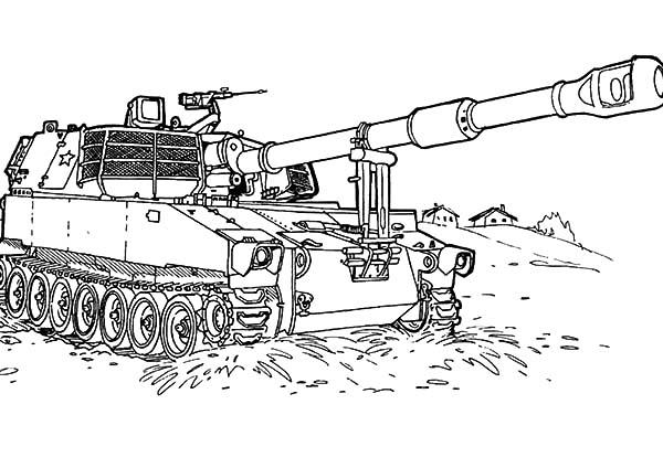 War Tank At The Beach In Army Car Coloring Pages