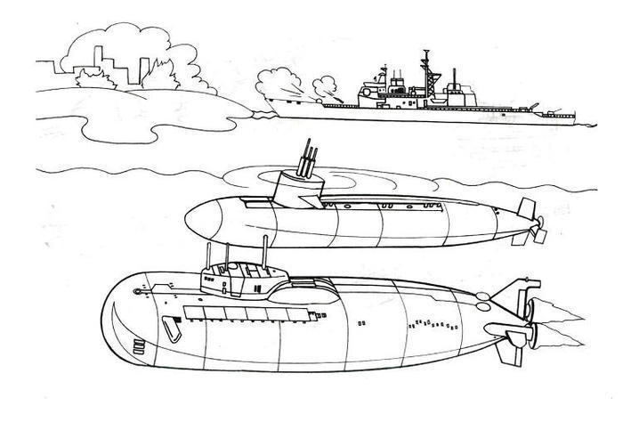 Warship Coloring Pages Submarine