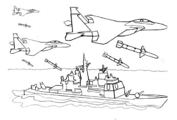 Warship Is Attacked By Fighter Jet Coloring Pages