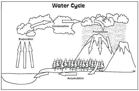 Water Cycle Process Coloring Picture