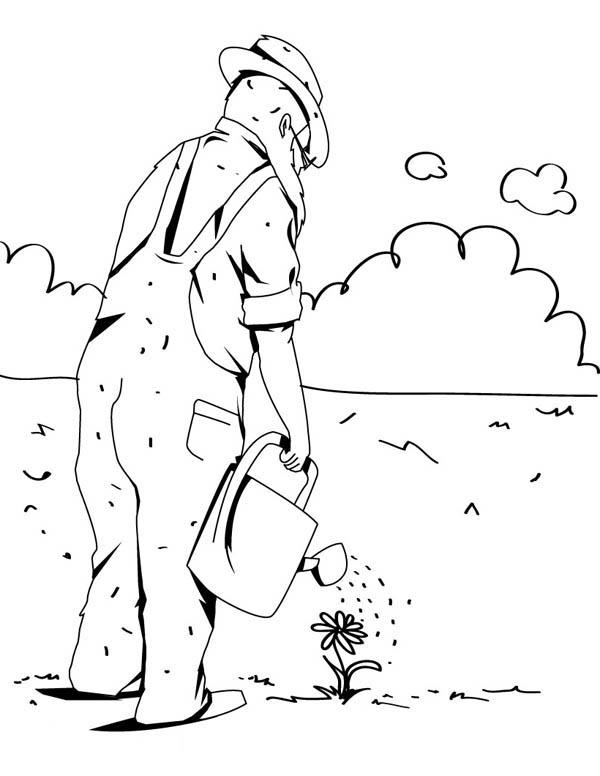 Watering Flower In Gardening Coloring Pages