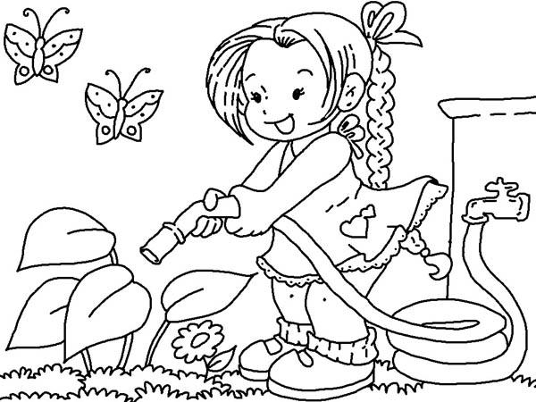 Watering Flower With Hose Gardening Coloring Pages