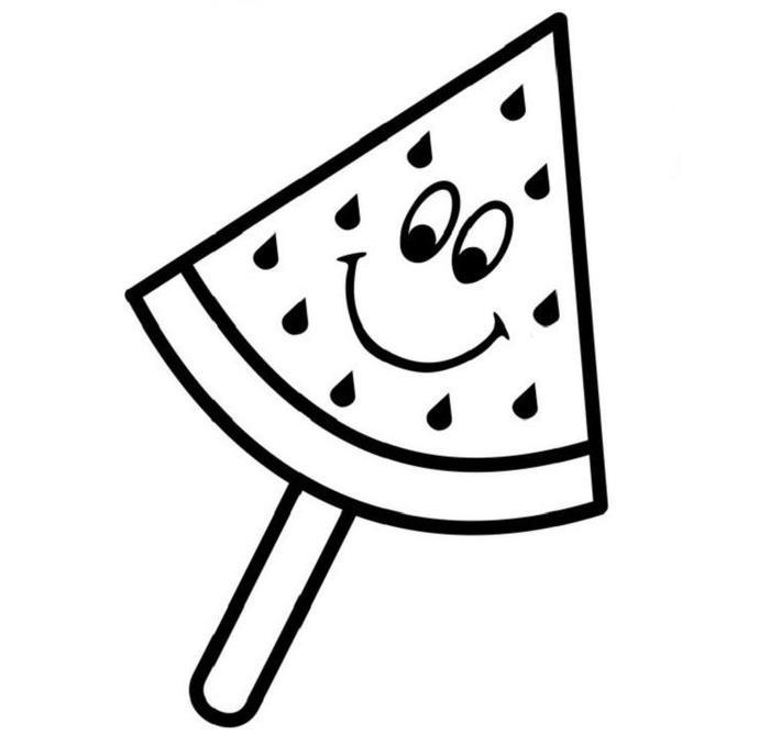 Watermelon Ice Cream Coloring Pages