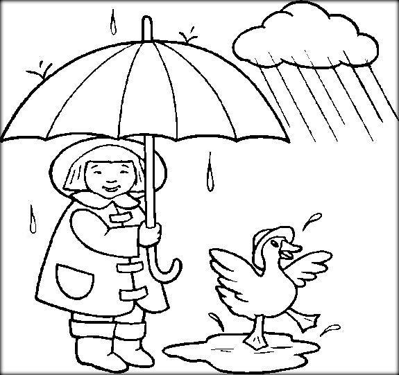 Weather Coloring Pages Kids In Rain