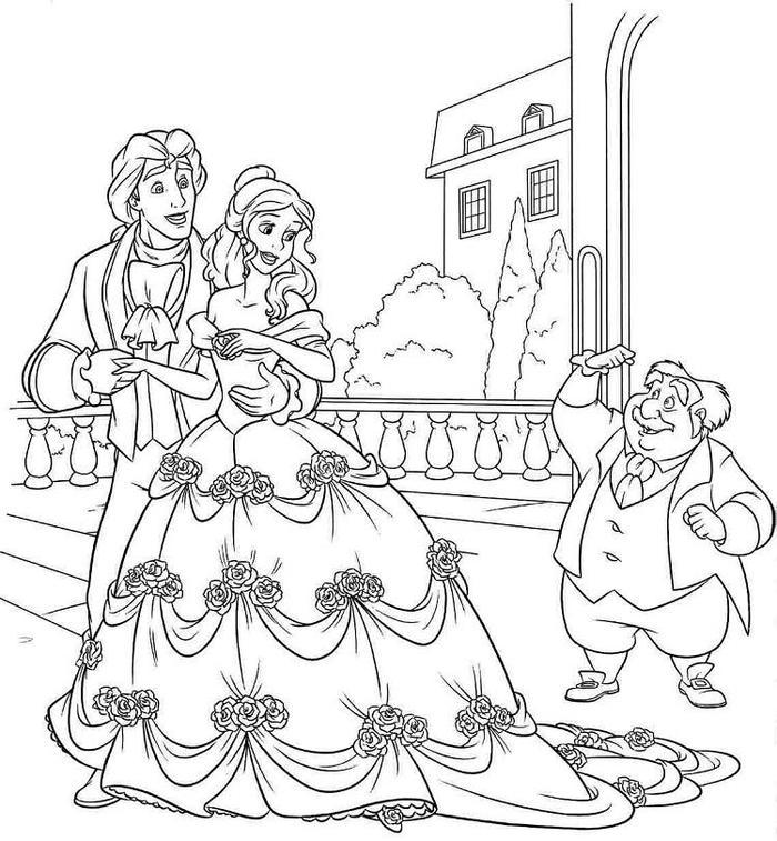 Wedding Beauty And The Beast Coloring Pages