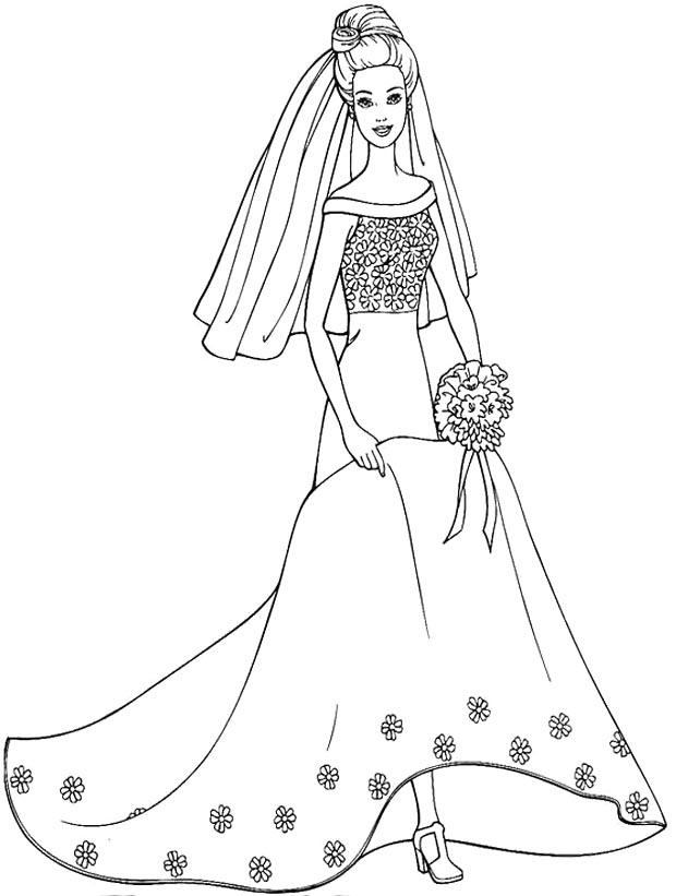Wedding Dress Coloring Pages For Kids 1