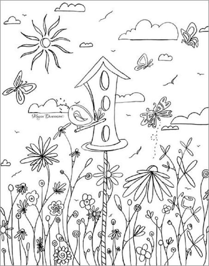 Whimsical Birdhouse Coloring Pages