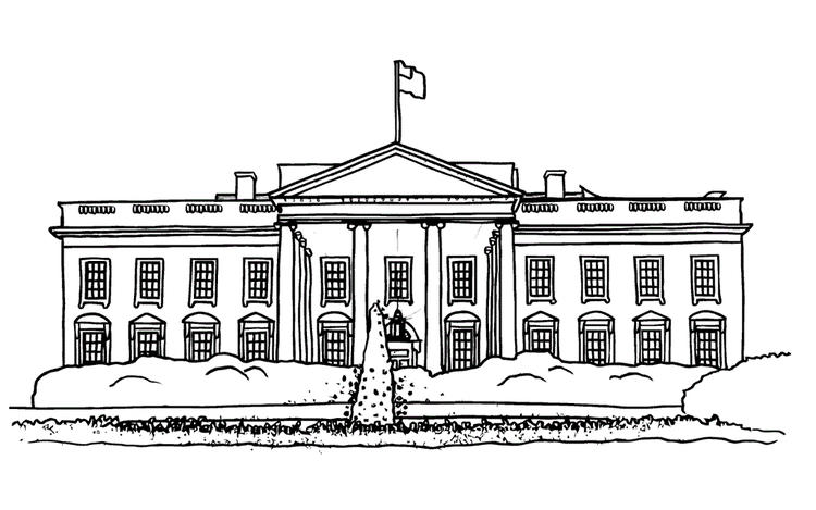 White House Official Residence And Workplace Of The President Coloring Page