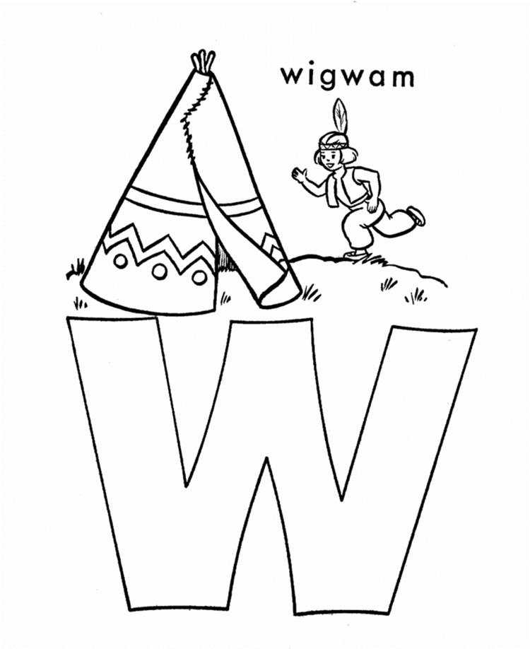 Wigwam Free Alphabet Coloring Pages